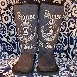 JUICY COUTURE Tall Gray Boots Size 7